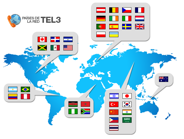 TEL3 Network Countries